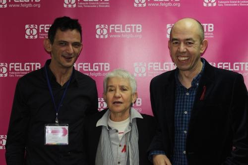 Miguel Luis Tomás, secretario general de CESIDA (i), Boti Rodrigo y Jesús Generelo