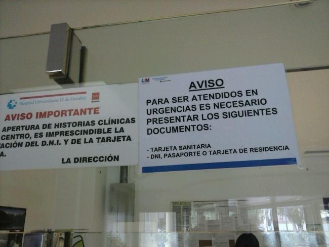Cartel de las urgencias del Hospital 12 de octubre. Imagen: CESIDA