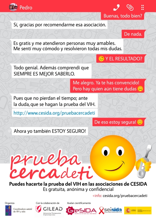 Cartel de la campaña de la prueba del VIH de CESIDA 2016